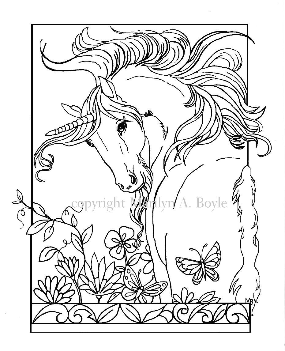 ADULT COLORING PAGE, digital download, Unicorn, flowers, butterfly ...