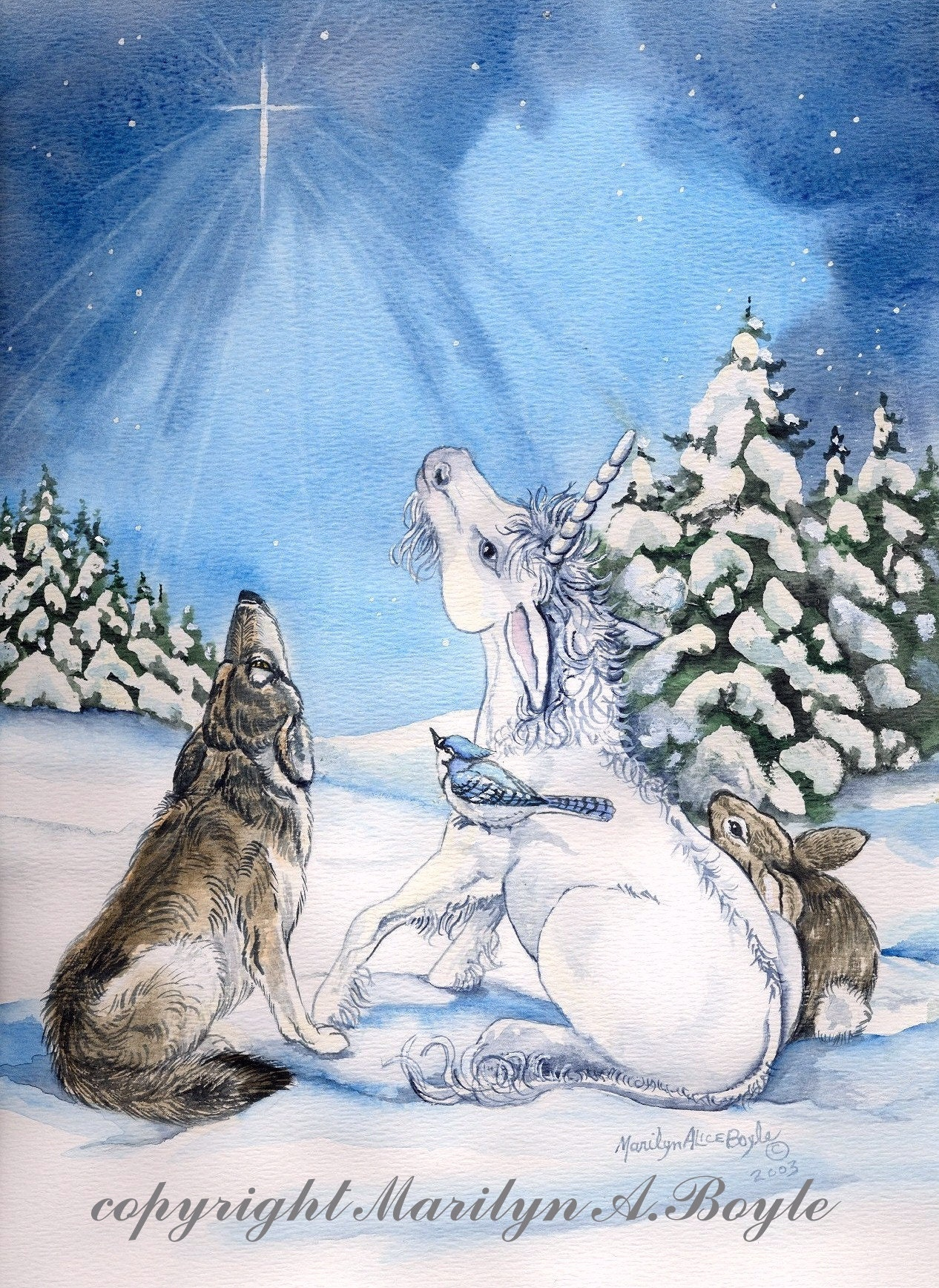 CHRISTMAS UNICORN CARDS; set of four, unicorns in winter scenes ...