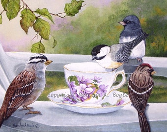 """The TEA SOCIAL-Limited Edition Print;ACEO; #4 of a run of 20, from an original painting in the """"teacup series"""",  birds, wings, feathers,"""
