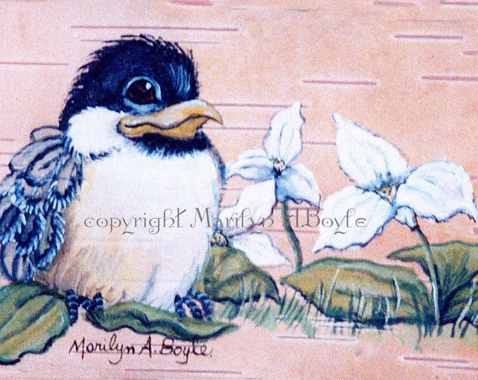 LIMITED EDITION ACEO Print; collector's item, 2.50 x 3.50 inches, baby chickadee, trillium,feathers, wings, run of only 20