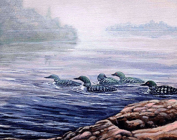 ORIGINAL ACRYLIC PAINTING; raft of loons, lake, shoreline, misty, nature, wilderness, Canadian wildlife, feathers, wings,wall art