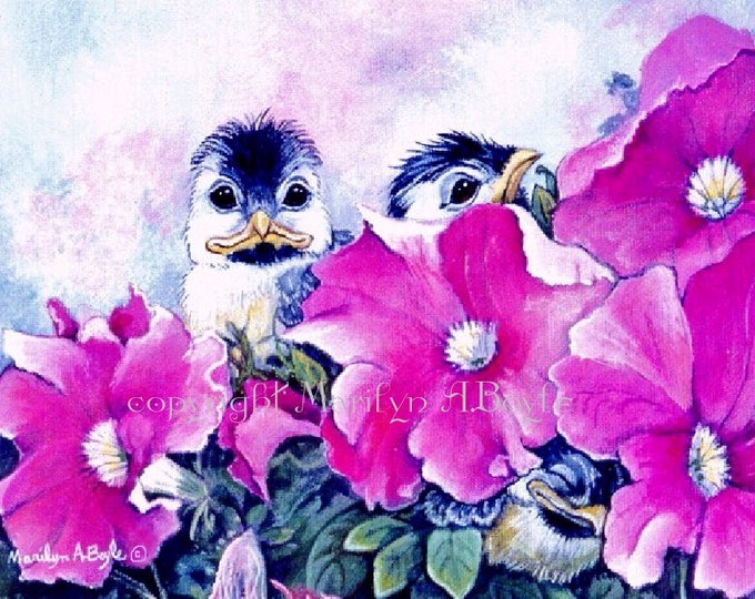 ACEO LIMITED EDITION Card, run of only 15, 3 baby chickadee, petunias, garden, nature, 2.5 x 3.5 inches, feathers, wings, collectibles,