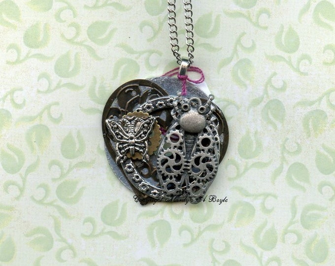HAND MADE PENDANT Steampunk; gear bug, butterfly, brass heart and various metals, necklace, wearable art, 28 inch chain,