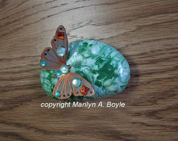 STONE-HAND PAINTED; Lake Superior stone, paint pour, 3-D butterfly, rhinestones, for desk, shelf or garden,