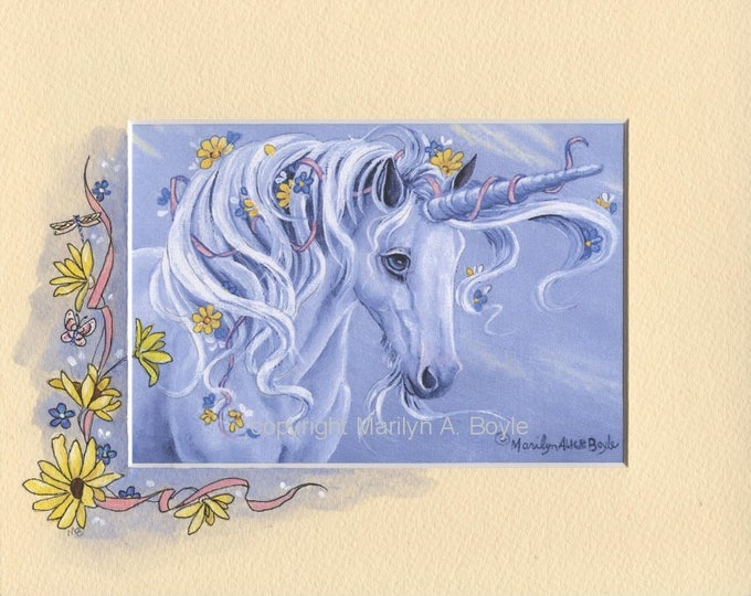 HAND PAINTED MAT; unicorn print, fantasy, flowers, daydream, wall art, original print, 8 x 10 inch mat