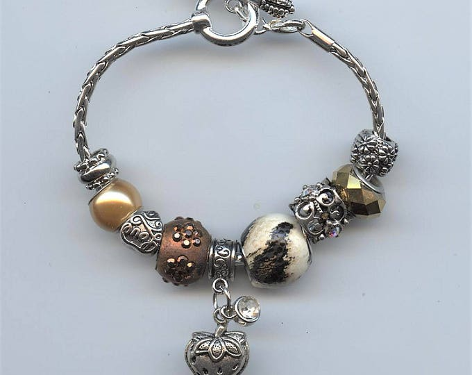 "HAND MADE BRACELET; Pandora type; rhinestone and silver strawberry charms, "" love you "" silver heart bead, jewelry, one of a kind,"