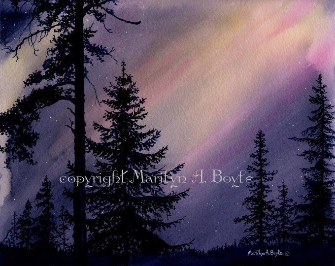 WATERCOLOR ORIGINAL-NORTHERN Lights;,night sky,scene, trees in silhouette, 8 x 10 inches, wall, trees. watercolor