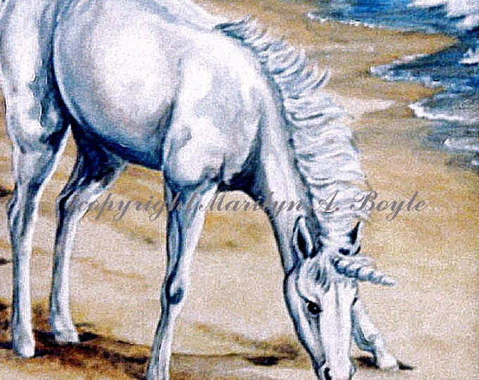 ACEO card LIMITED EDITION; run of 10; fantasy, unicorn foal, beach, seashell, waves, ocean, 2.50 x 3.50 inches,