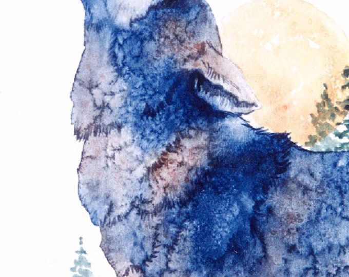 PRINT of WOLF HOWLING at the Moon; art, wildlife, moon, wolf, wilderness, nature, howling