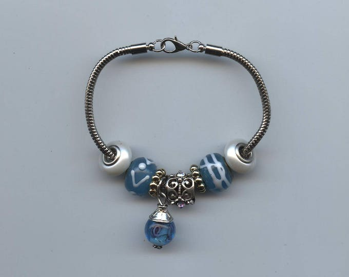 BRACELET-ORIGINAL PANDORA Type; hand made, blue beads, snake chain, 7.50 inches, jewelry, one of a kind