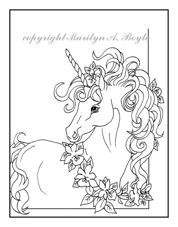 Pagina Da Colorare Adulto Digital Download Unicorno Corona Etsy