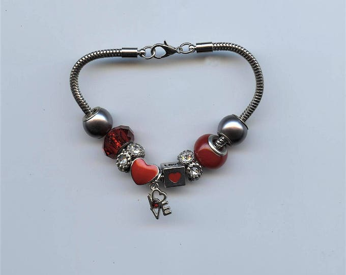 "BRACELET - RED HEART, love you, silver snake chain, pandora-like, red beads, brilliants, word "" love "" charm"