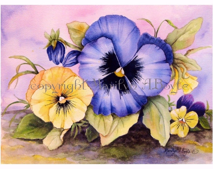 ORIGINAL MIXED MEDIA Painting, pansies, free shipping, flowers, garden, johnny jump up, Canadian art, 9 x 12 inches,wall art, bright colors