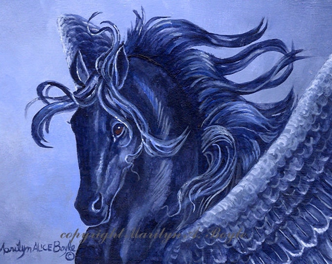ACEO PRINT - FANTASY; Limited Edition of 10, black Pegasus, wings, feathers, horse with wings, fantasy, miniature, reproduction