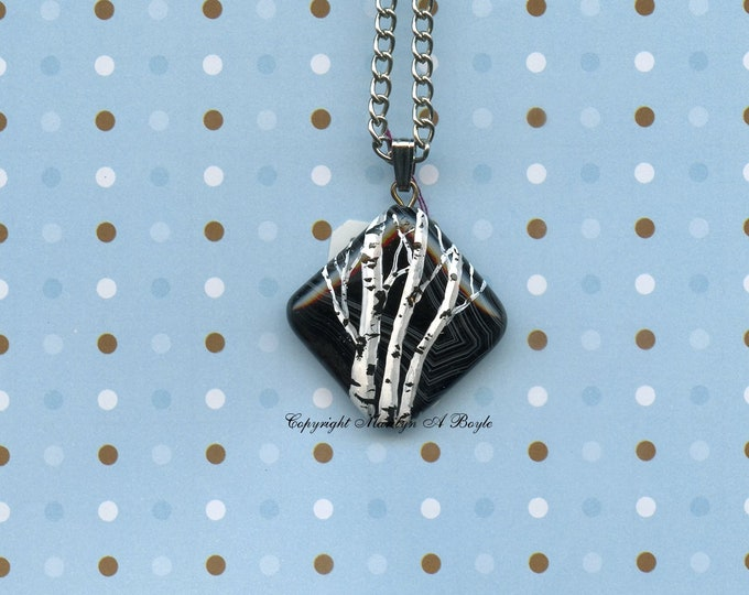 HAND PAINTED PENDANT; Birches on triangular black acrylic bead, wearable art, necklace, one of a kind, 24 inch silver metal chain