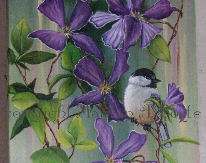 ORIGINAL ACRYLIC PAINTING; free shipping, Clematis and chickadee, 12 x 34 imches, Canadian art, wall art, flowers, garden, songbird,