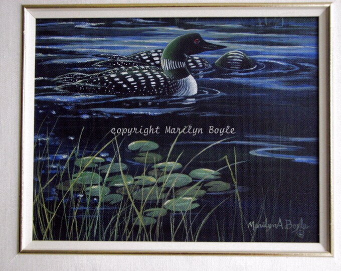 ORIGINAL ACRYLIC PAINTING; Loons, free shipping, lake, lilypads, nature, wilderness, Canadian wildlife, 8 x 10 inches