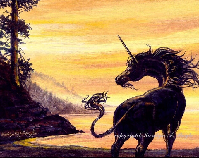 ACEO card LIMITED EDITION; fantasy, black unicorn, sunset, lake, 2.50 x 3.50 inches