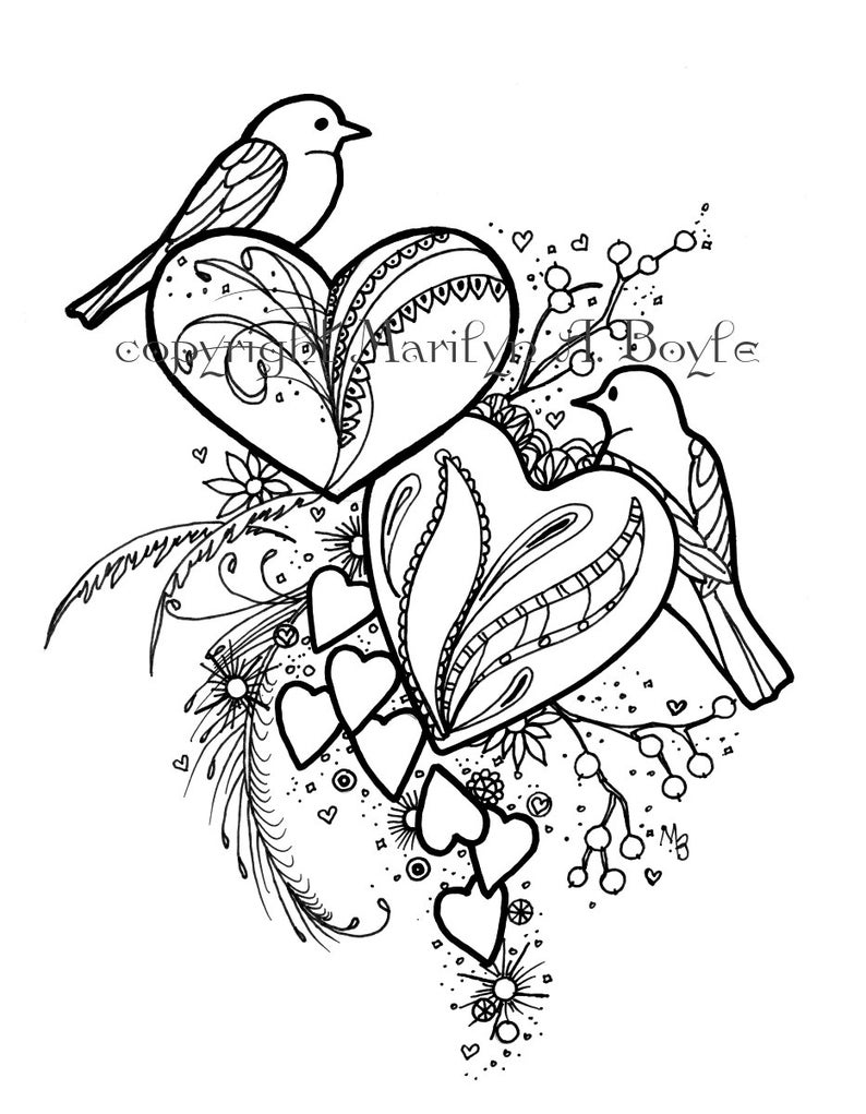COLORING BOOK of FIVE Pages, digital download, birds and hearts,  hummingbird, mouse, butterflies, tiger, original art