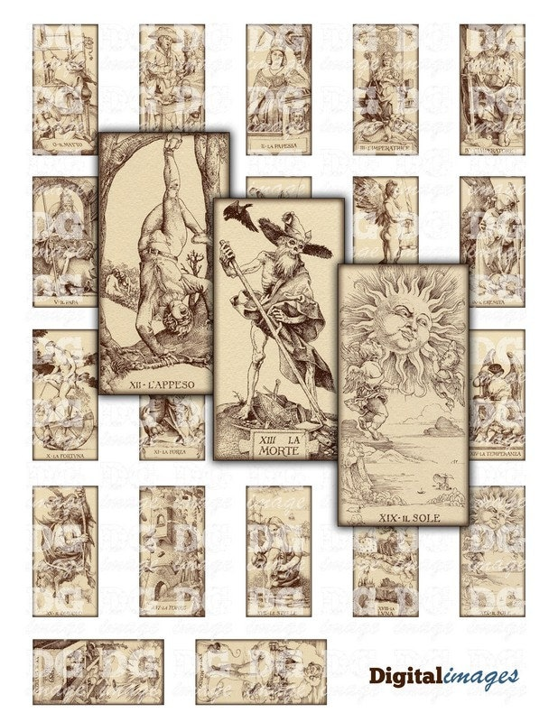 Antique Tarot Card The Fool: Antique Tarot Card By Durer Rectangles 1x2 Inch 25x50mm