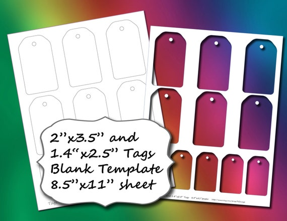 blank tags template 2 sizes 8 5x11 page etsy