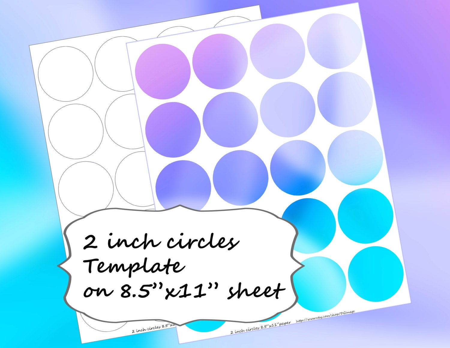 2 Inch Circles Template On 85x11 Page Tutorial Etsy