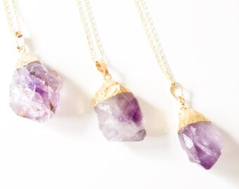 Crystal Quartz Amethyst Pendant, Amethyst Necklace, Amethyst Quartz Rock, Crystal Quartz Necklace, Gold Foiled Necklace, Gold Foiled Pendant