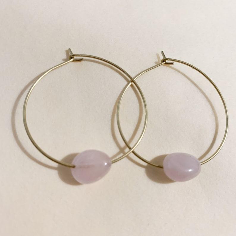 Rose Quartz Pebble Hoop Earrings Hoops Rose Quartz Bohemian Brass Hoop Earrings Foundry and Co New Zealand Made Healing Crystals