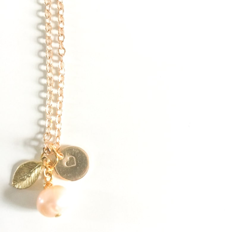 Charm Jewelry Name Necklace Gold Leaf Charm Necklace Her Freshwater Pearl Necklace Gold 14k Personalised Necklace Initial Necklace