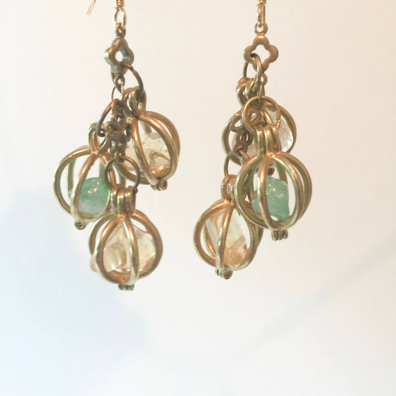 a62ca5332d97c Bohemian Lantern Earrings, Citrine, Jade, Healing Jewelry, Brass Caged  Crystal Earrings, Bohemian Jewellery, New Zealand Made, Boho Style