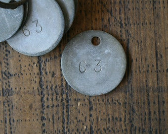 Old Metal Punched Number Tag Number 63 Disc PRICE PER TAG