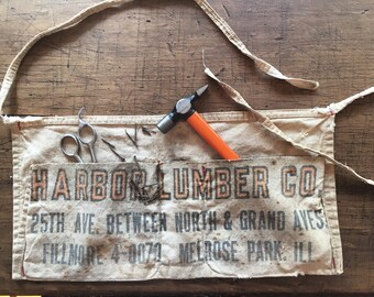 Canvas Hardware Lumber Apron Nail Rustic Harbor Lumber Co Illinois Mantique Mancave Garden Apron Craft Utility Belt