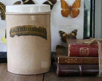 Antique Apothecary Jar Ceramic Pharmacy Container Ol. Theobromæ Cacao Butter