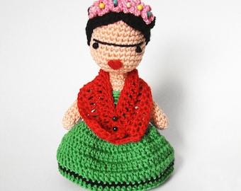 Crochet PATTERN for Frida Kahlo amigurumi doll - EN+FR -