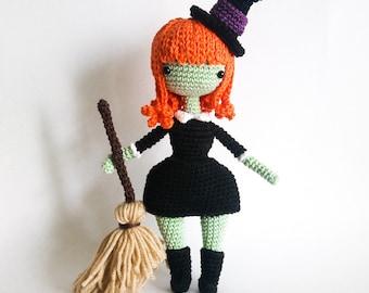 Crochet PATTERN for  Leanne the Little Witch Doll amigurumi -EN -