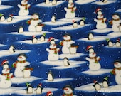 Christmas Flannel Fabric - Snowmen and Penguins Royal Blue 2 Ply - By the yard - 100% Cotton Flannel