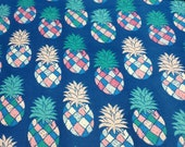 Flannel Fabric - Multi Color Pineapple on Blue - By the Yard - 100% Cotton Flannel