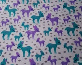Flannel Fabric - Baby Deer - By the Yard - 100% Cotton Flannel