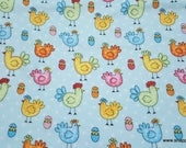 Flannel Fabric - Aqua Chicken and Eggs - By the yard - 100% Cotton Flannel