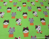 Flannel Fabric - Peek a Boo Kitty - By the yard - 100% Cotton Flannel