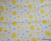 Flannel Fabric - Cheerful Sky on White - By the yard - 100% Cotton Flannel