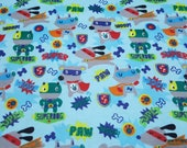 Flannel Fabric - Super Dogs - By the yard - 100% Cotton Flannel