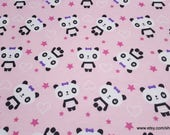 Flannel Fabric - Pretty Pandas - By the yard - 100% Cotton Flannel
