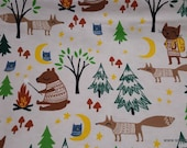 Flannel Fabric - Camping with Smores Woodland - By the yard - 100% Cotton Flannel