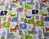 Flannel Fabric - Dinosuars on White - By the yard - 100% Cotton Flannel