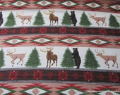 Flannel Fabric - Wintertime Animal Stripe - By the yard - 100% Cotton Flannel