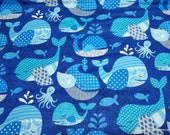 Flannel Fabric - Whale Blue - By the yard - 100% Cotton Flannel