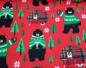Christmas Flannel Fabric - Bears and Christmas Campers - By the Yard - 100% Cotton Flannel
