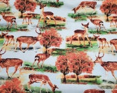 Flannel Fabric - Deer Scenic - By the yard - 100% Cotton Flannel