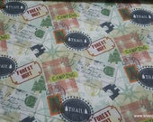 Flannel Fabric - World Traveler Stamps - By the yard - 100% Cotton Flannel